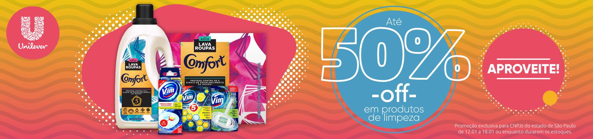 Unilever - Até 50% OFF em produtos de limpeza