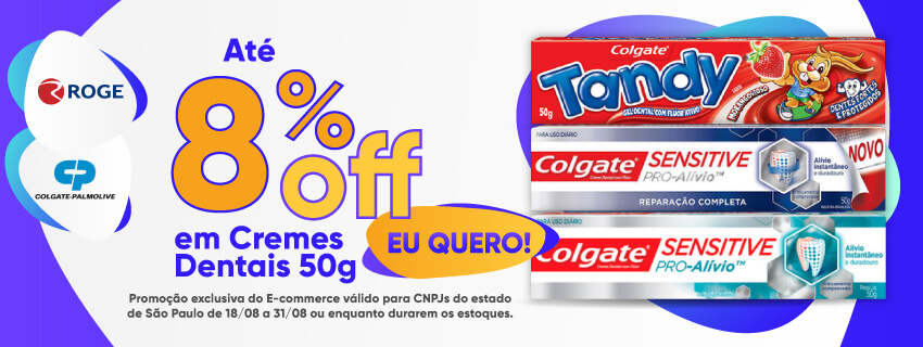 COLGATE - Até 8% OFF em Cremes Dentais 50g