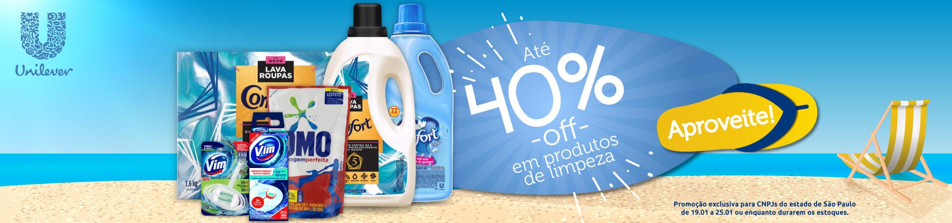 Unilever - Até 40% OFF em produtos de limpeza