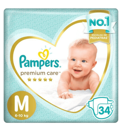 Imagem de Fralda infantil pampers premium care c/34 mega m pc