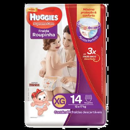 Imagem de Fralda infantil huggies c/14 roupinha supreme care mega xg