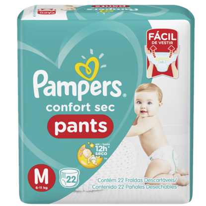 Imagem de Fralda infantil pampers pants c/22 confort sec md pc