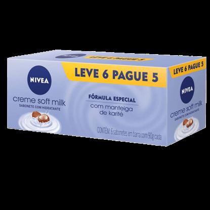 Imagem de Sabonete em barra uso diário nivea 90g soft milk leve 6 pague 5