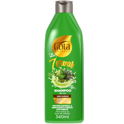 Imagem de Shampoo uso diário gota dourada 340ml sete ervas