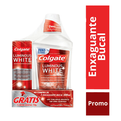 Imagem de Enxaguatório antisséptico colgate 500ml luminous white gratis cd luminous