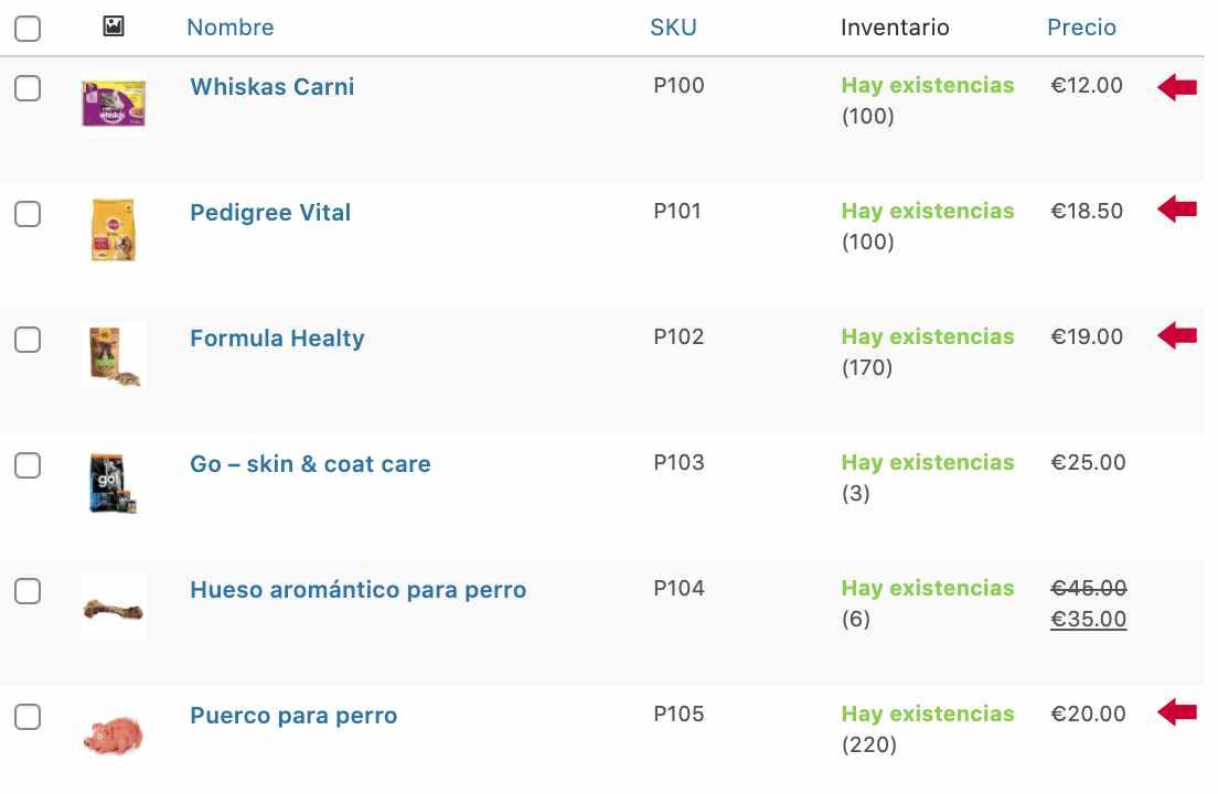 Lista de productos con stock y precios actualizados
