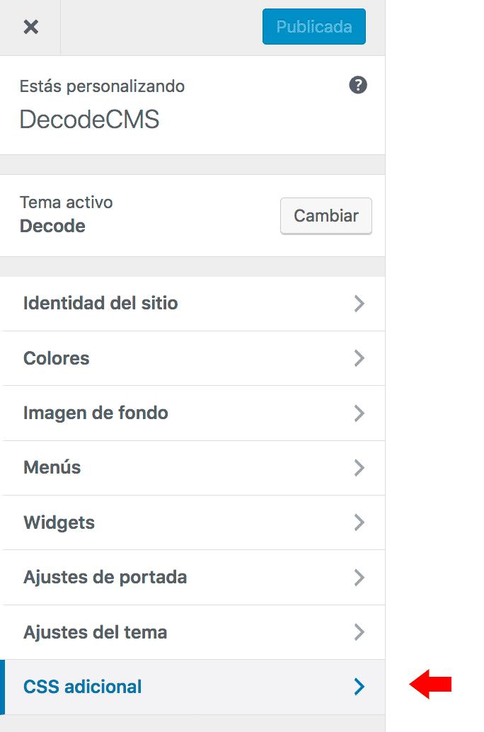Opciones personalizador theme