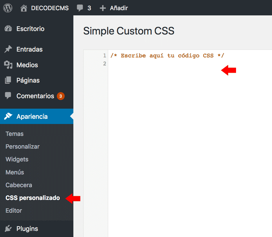 Plugin simple custom CSS
