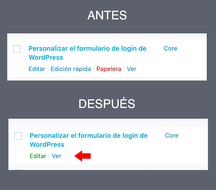 Comparación luego de agregar CSS para ocultar enlaces filas entradas