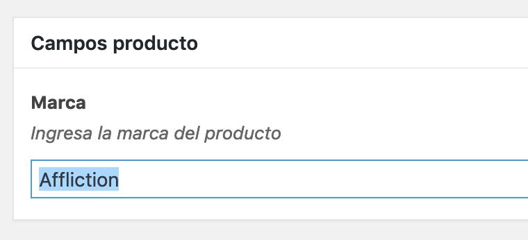 Campo personalizado en detalle producto