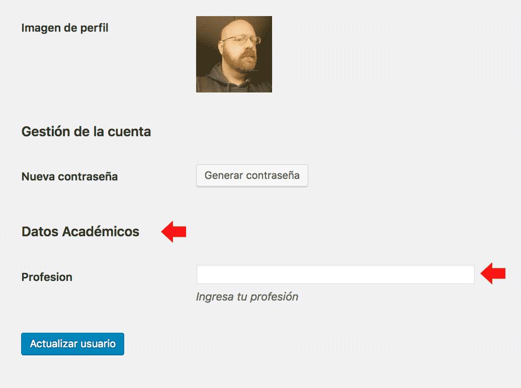 Campos adicionales en perfil de usuario en nueva sección