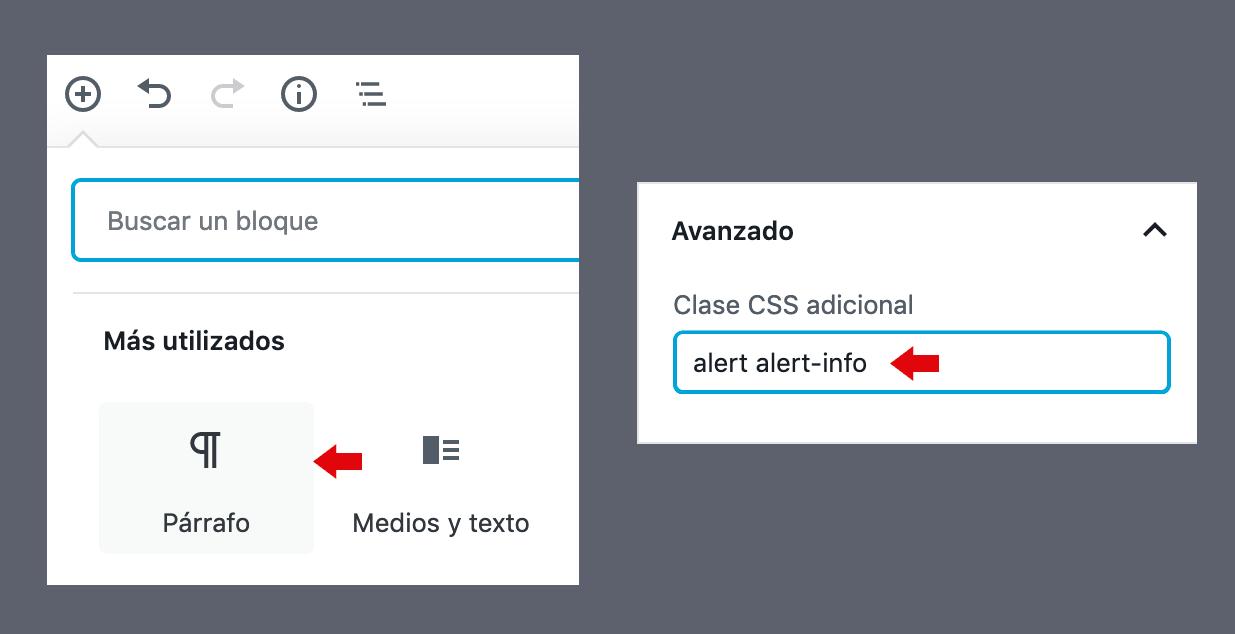 Clase CSS en el bloque