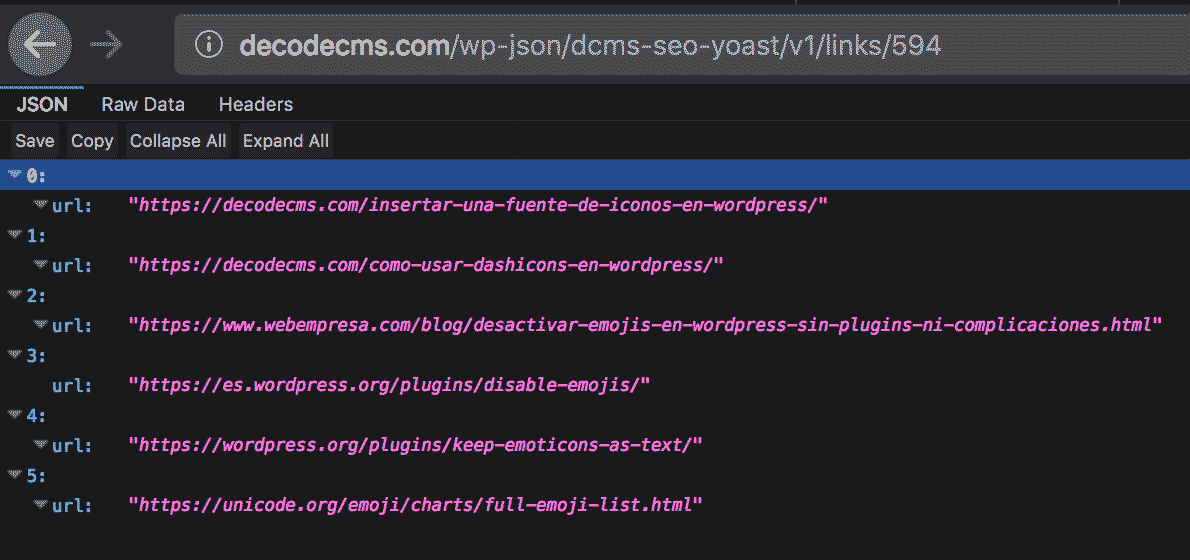 Datos de links en forma json
