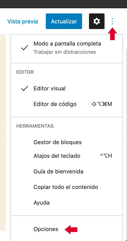 Pantalla de opciones de Gutenberg