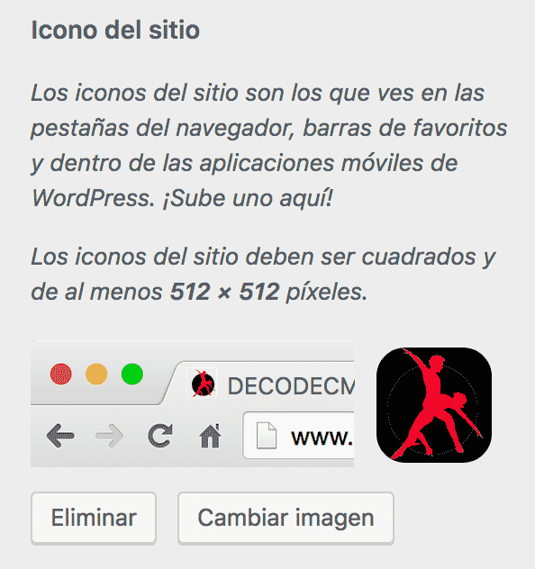 Pantala de cambio de favicon WordPress