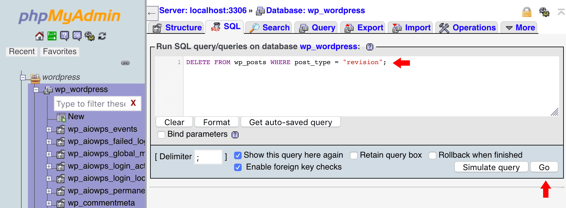 Usando PHPMyAdmin para borrar revisiones con una consulta SQL