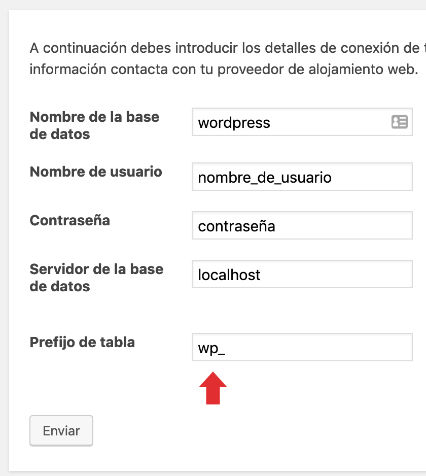 Instalación de WordPress cambiar prefijo