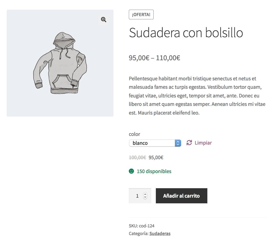 Elementos de la página de detalle de producto