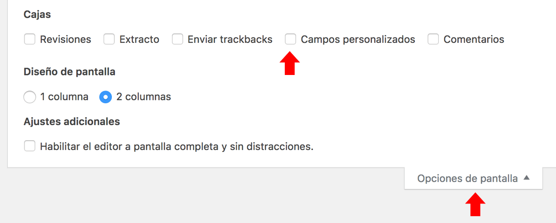 Pantalla de contenido de entradas con la opción de habilitar campos personalizados