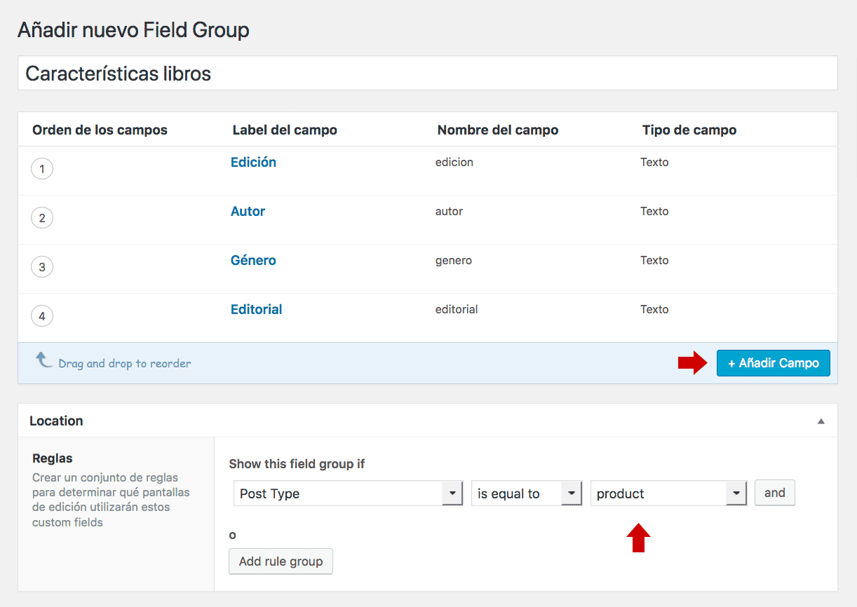 Campos personalizados usando el plugin Advanced custom fields