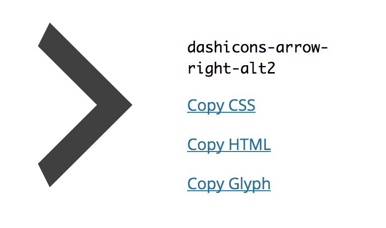 Dashicon de ejemplo en sitio oficial