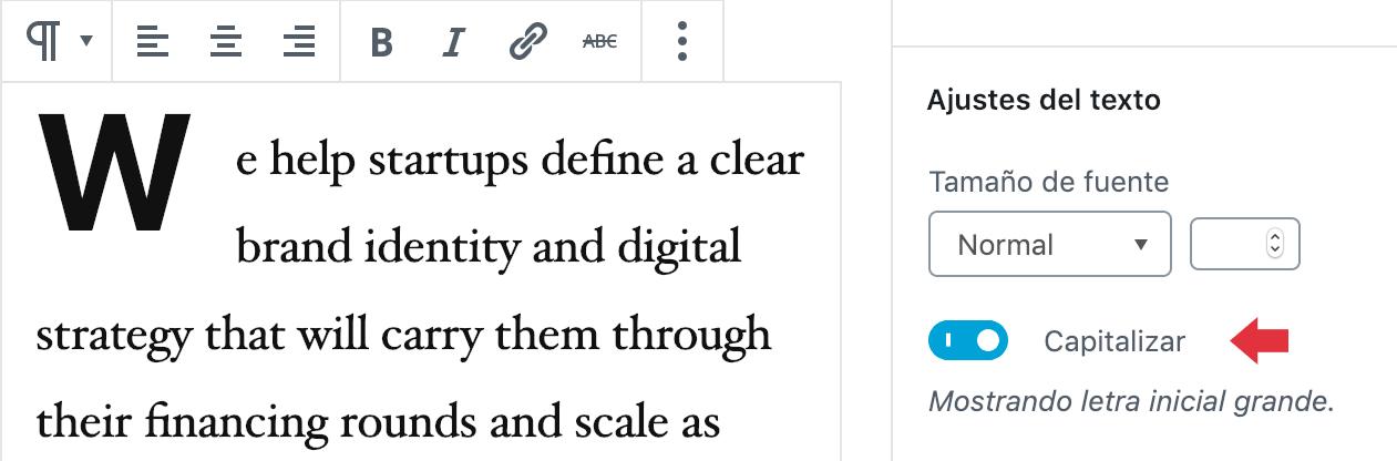 Capitalizar texto Gutenberg