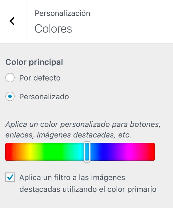 Personalización de colores sitio
