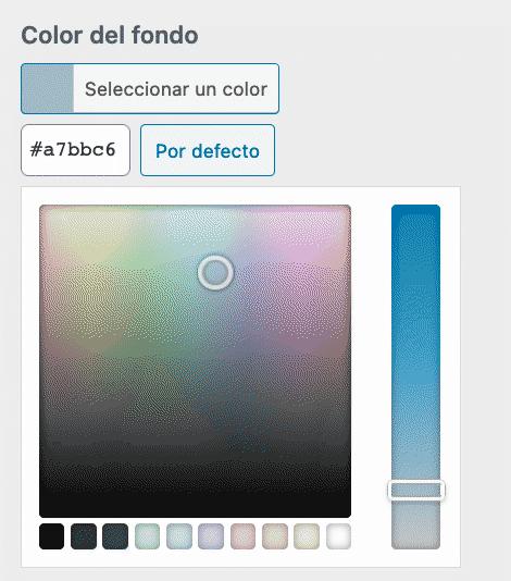 Selección color de fondo