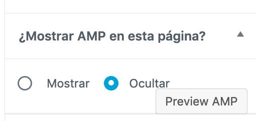 Sección para mostrar u ocultar página versión AMP
