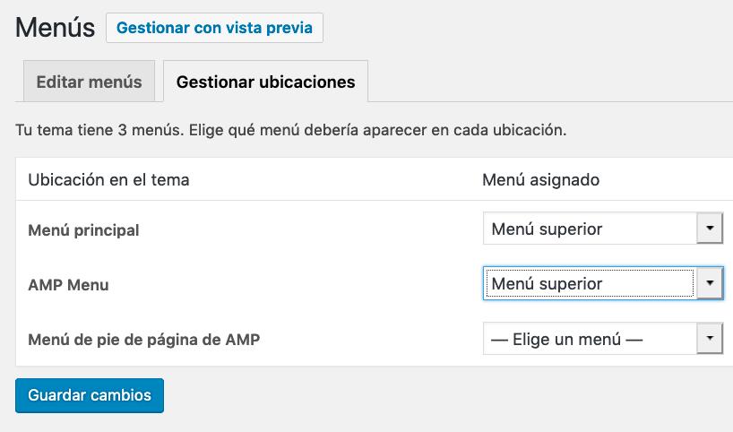 Configurar ubicación de menú tema AMP