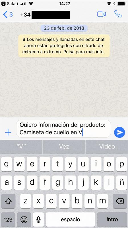 Pantalla movil Whatsapp con mensaje