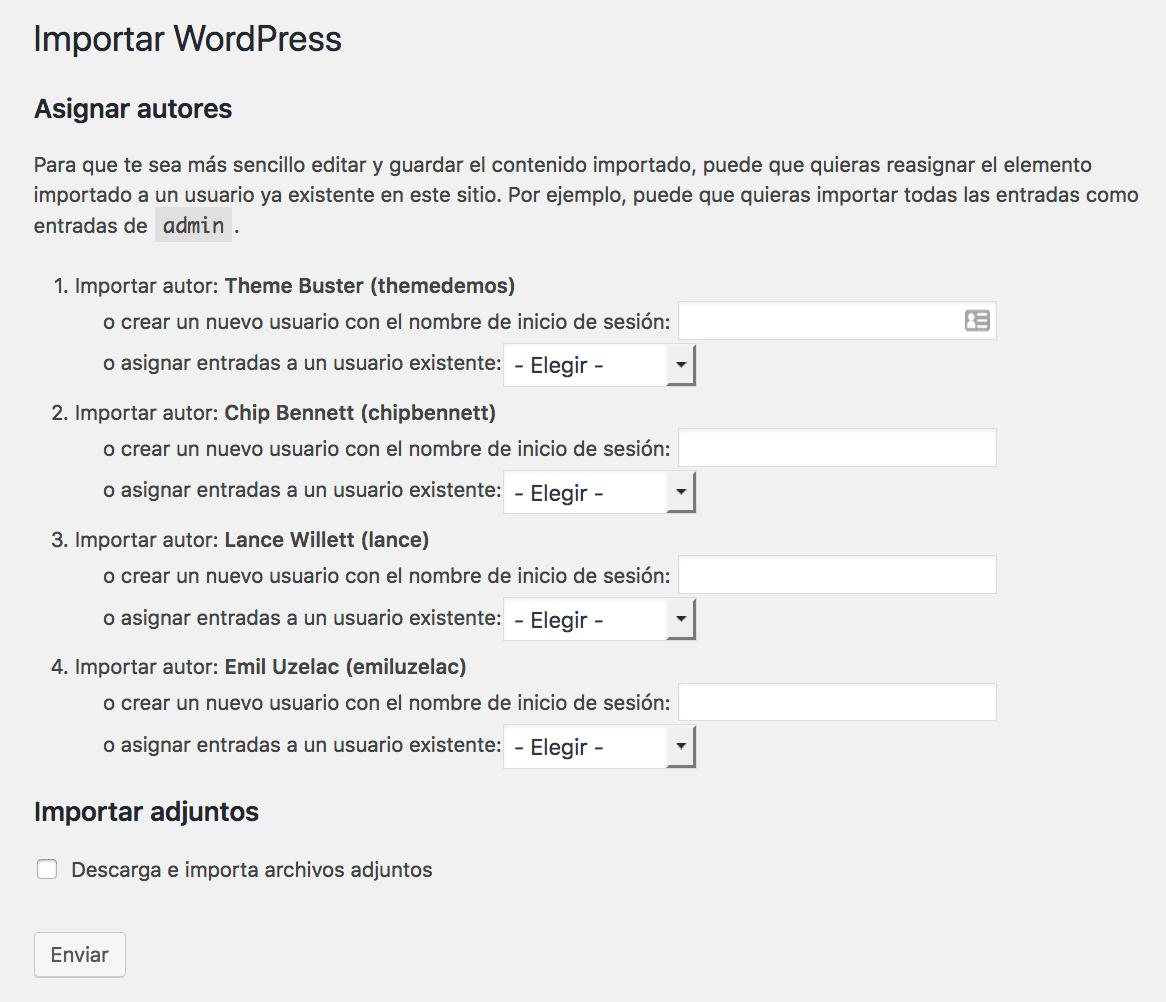 Pantalla de configuración para selección de autor y opción de adjuntos