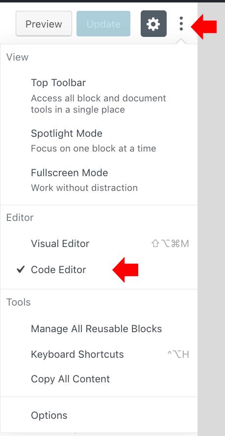 Vista código editor Gutenberg