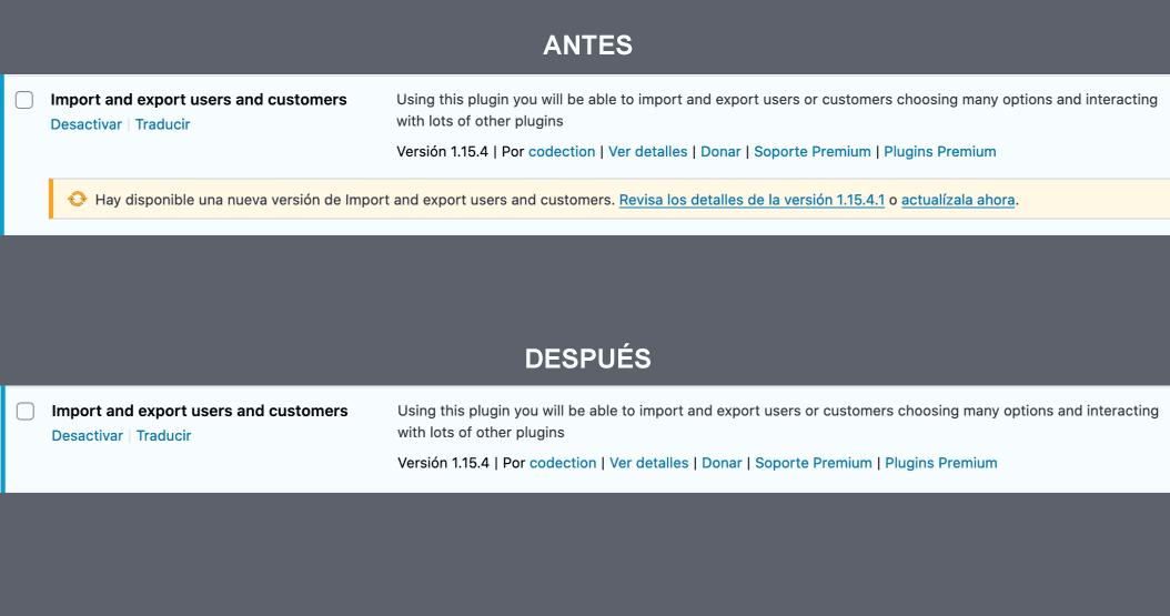 Deshabilitar notificación actualización plugin