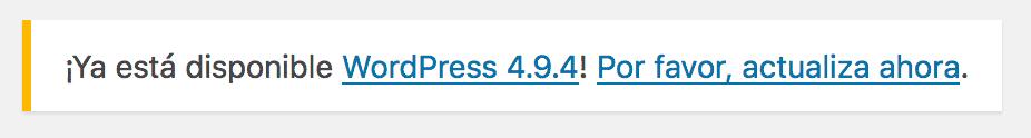 Mensaje notificación de actualización core WordPress