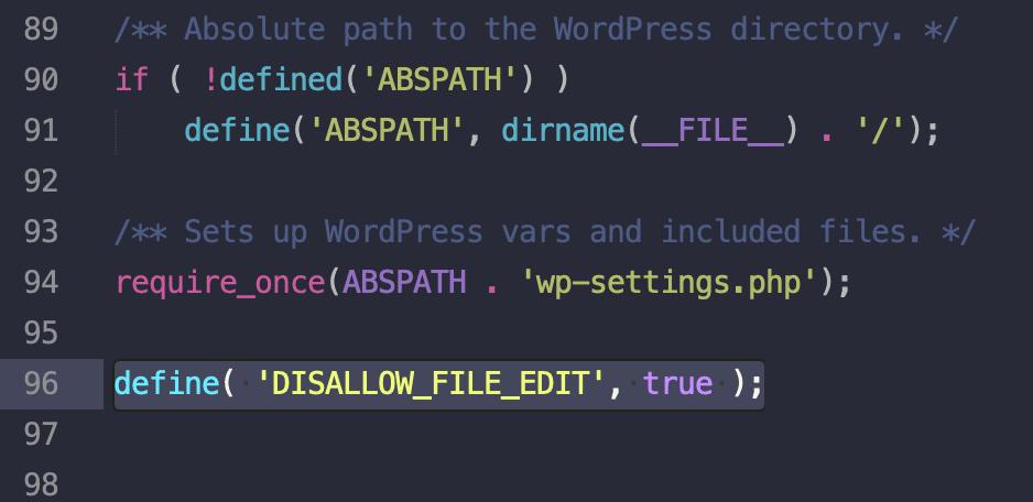 agregar código archivo wp-config.php