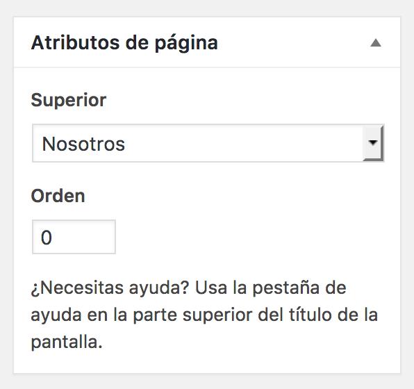 Sección atributos página