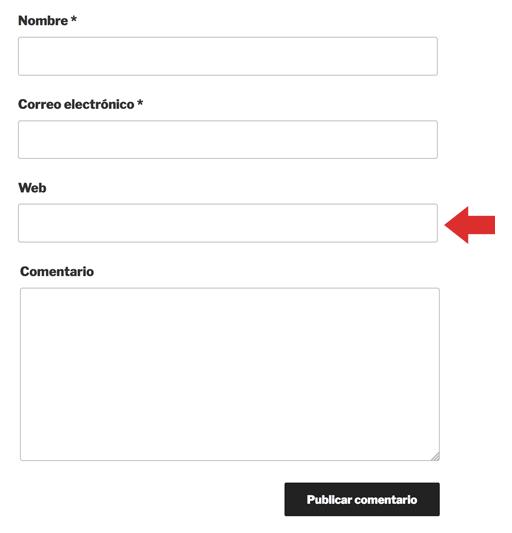 Pantalla de formulario de comentarios