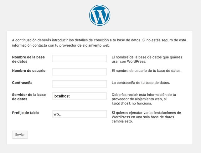 pantalla de instalación del paquete quickstart en WordPress
