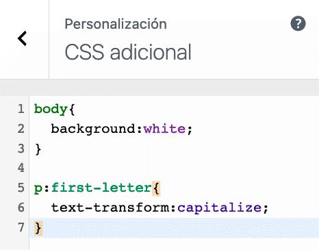 Opción CSS Personalizador