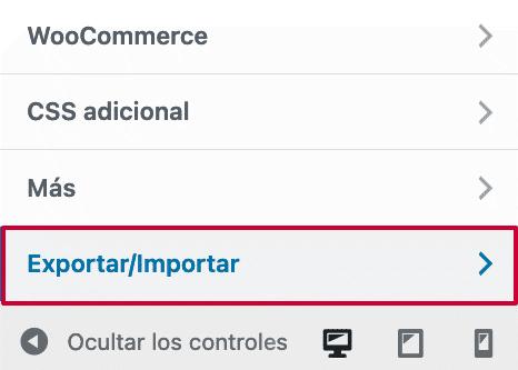 Importar y exportar opción plugin