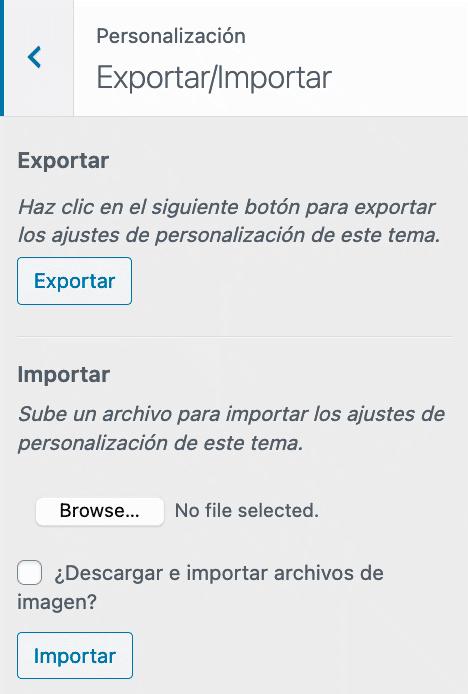 Opcion adicional personalizador importar - exportar