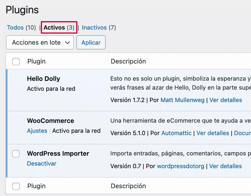 Lista de plugins activos subsitio