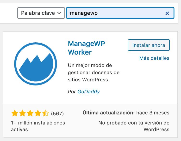 Intalación ManageWP Worker plugin