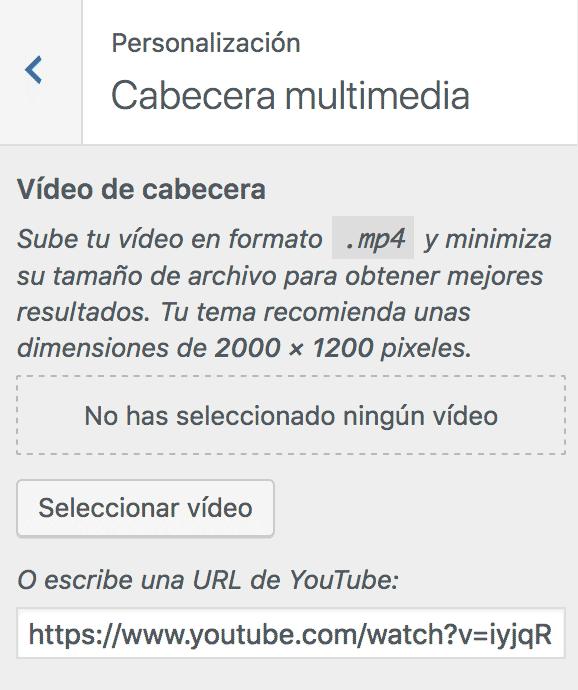 Pantalla de personalización cabecera multimedia
