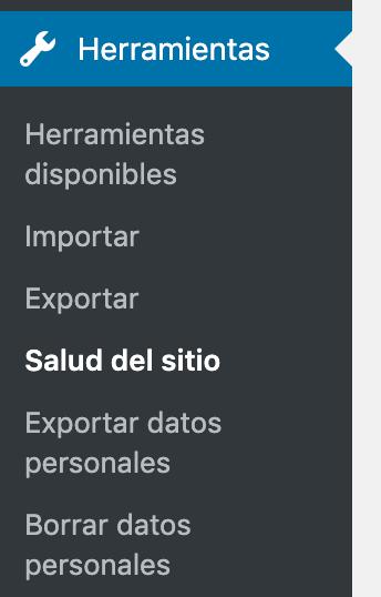 Backend de WordPress opción de Menú Herramientas - Salud del sitio