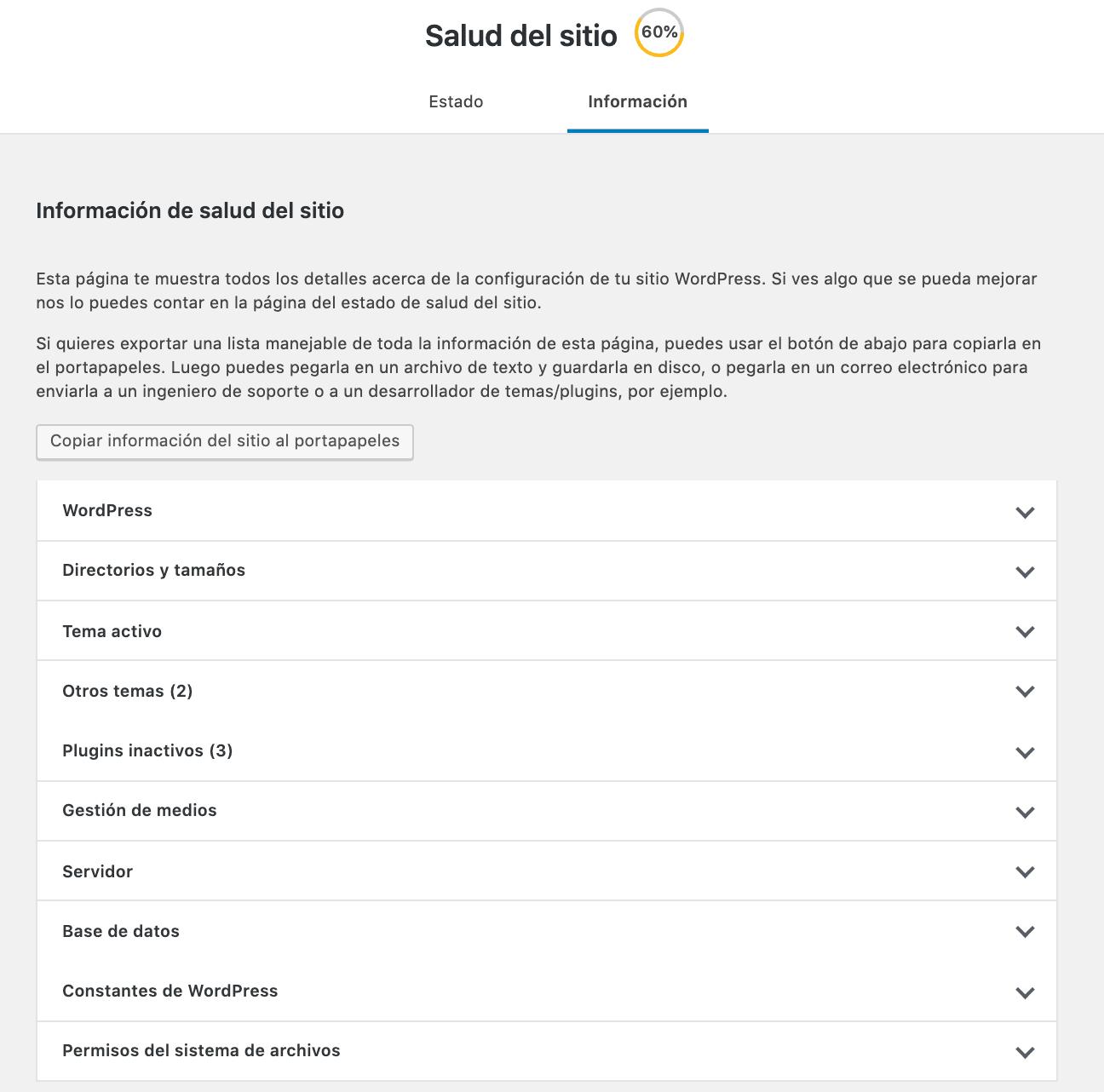 Sección de Información Salud del Sitio