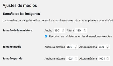 Pantalla de configuración tamaño de imágenes
