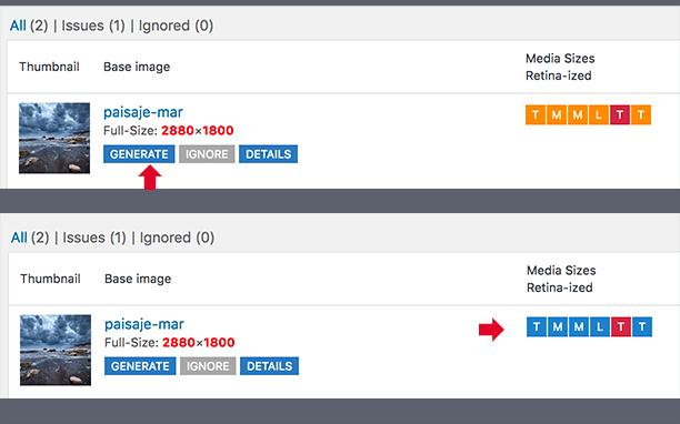 Pantalla de generación de imágenes retina plugin WP Retina 2x