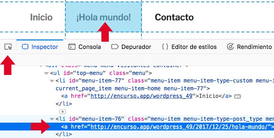 Usando el inspector de código para seleccionar elemento